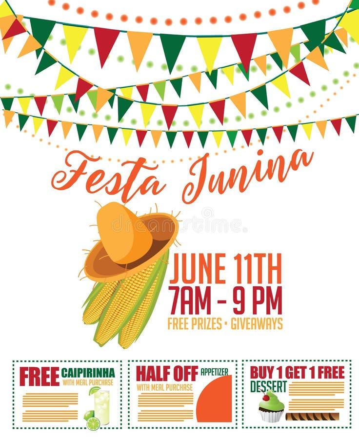 Σχέδιο μάρκετινγκ Junina Festa (κόμμα Ιουνίου) διανυσματική απεικόνιση