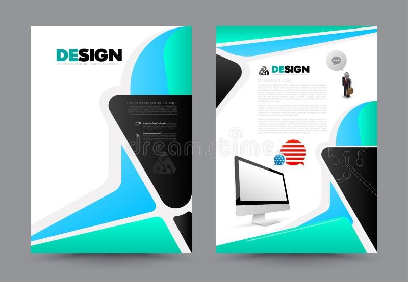 Σχέδιο μεγέθους προτύπων ιπτάμενων φυλλάδιων φυλλάδιων ετήσια εκθέσεων κάλυψης A4 διανυσματική απεικόνιση