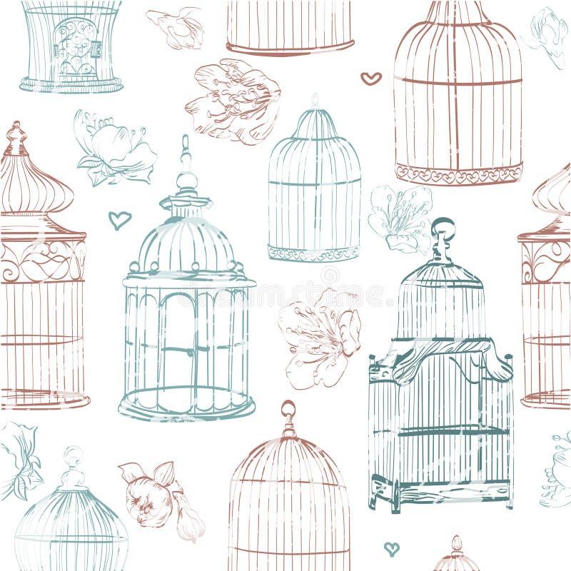 Σχέδιο με τα κλουβιά και τα λουλούδια χρώματος διανυσματική απεικόνιση