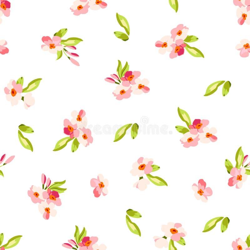 Σχέδιο με τα μικρά ρόδινα λουλούδια απεικόνιση αποθεμάτων