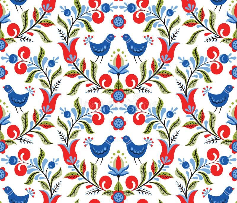 Σχέδιο με τα πουλιά και τα λουλούδια ελεύθερη απεικόνιση δικαιώματος