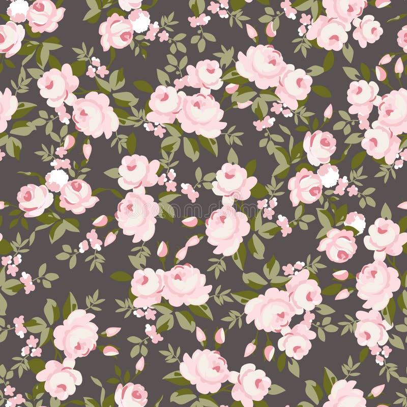 Σχέδιο με τα ρόδινα τριαντάφυλλα κρητιδογραφιών διανυσματική απεικόνιση