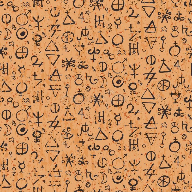Σχέδιο με τα σύμβολα αλχημείας απεικόνιση αποθεμάτων