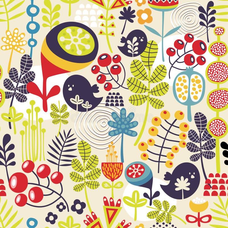 Σχέδιο με τα χαριτωμένα πουλιά και τα όμορφα λουλούδια. απεικόνιση αποθεμάτων