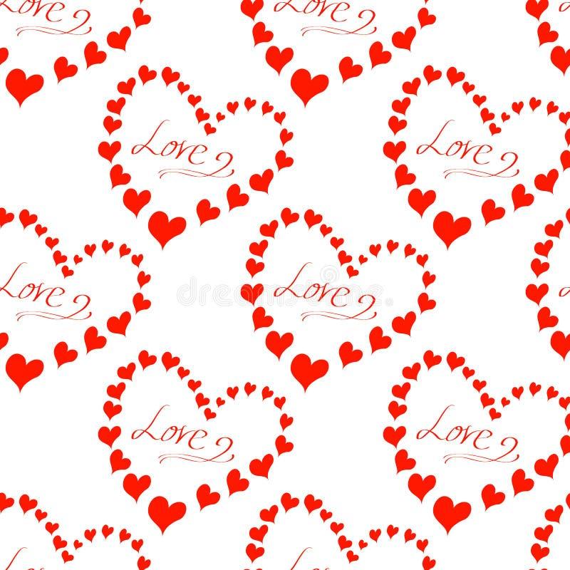 Σχέδιο με την αγάπη επιγραφής, πολλές καρδιές διανυσματική απεικόνιση