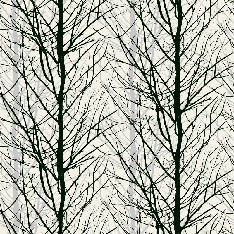 Σχέδιο με τις σκιαγραφίες δέντρων στο Μαύρο ελεύθερη απεικόνιση δικαιώματος