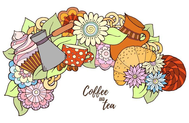 Σχέδιο με τον καφέ cezve Συρμένο χέρι σχέδιο τσαγιού και καφέ απεικόνιση αποθεμάτων
