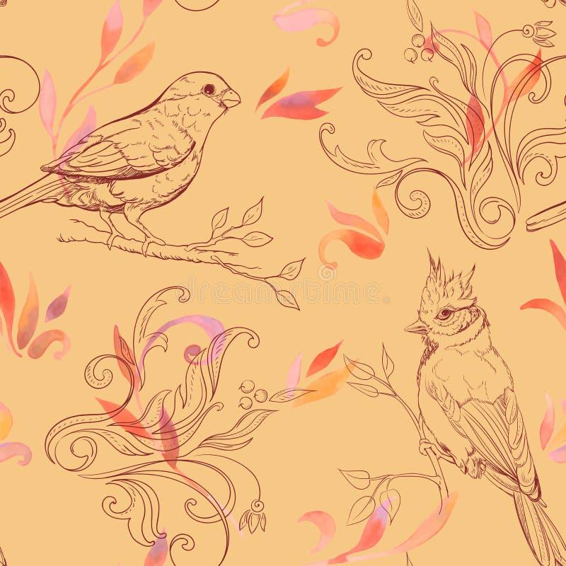 Σχέδιο με το πουλί και τα handdrawn λουλούδια διανυσματική απεικόνιση