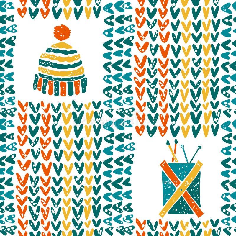 Σχέδιο με το πλέξιμο των εξαρτημάτων και του καπέλου απεικόνιση αποθεμάτων