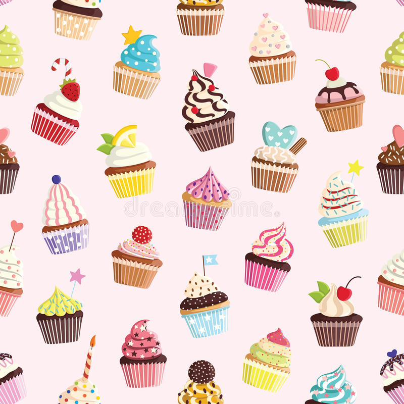 Σχέδιο με το χαριτωμένο ζωηρόχρωμο cupcake απεικόνιση αποθεμάτων