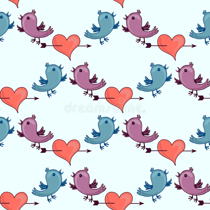 Σχέδιο με δύο πουλιά και σπασμένα τα καρδιά επιτύμβια στήλη απεικόνιση αποθεμάτων