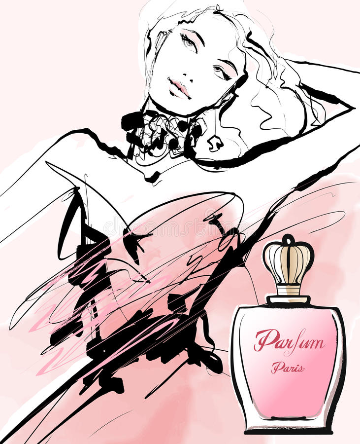 Σχέδιο μιας γυναίκας που διαφημίζει για ένα άρωμα ελεύθερη απεικόνιση δικαιώματος