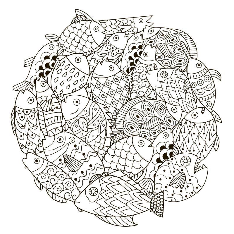 Σχέδιο μορφής κύκλων με τα διακοσμητικά ψάρια για το χρωματισμό του βιβλίου απεικόνιση αποθεμάτων