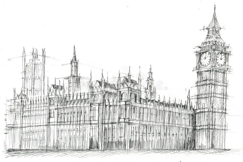 Σχέδιο μολυβιών Big Ben Λονδίνο ελεύθερη απεικόνιση δικαιώματος