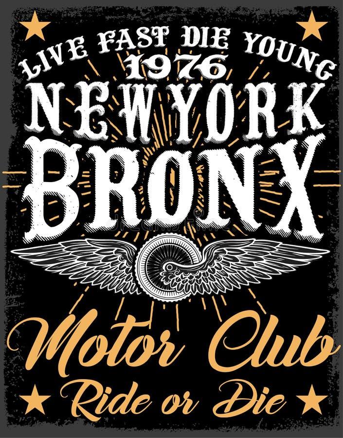 Σχέδιο μπλουζών ετικετών μοτοσικλετών με την απεικόνιση της μπριζόλας συνήθειας ελεύθερη απεικόνιση δικαιώματος