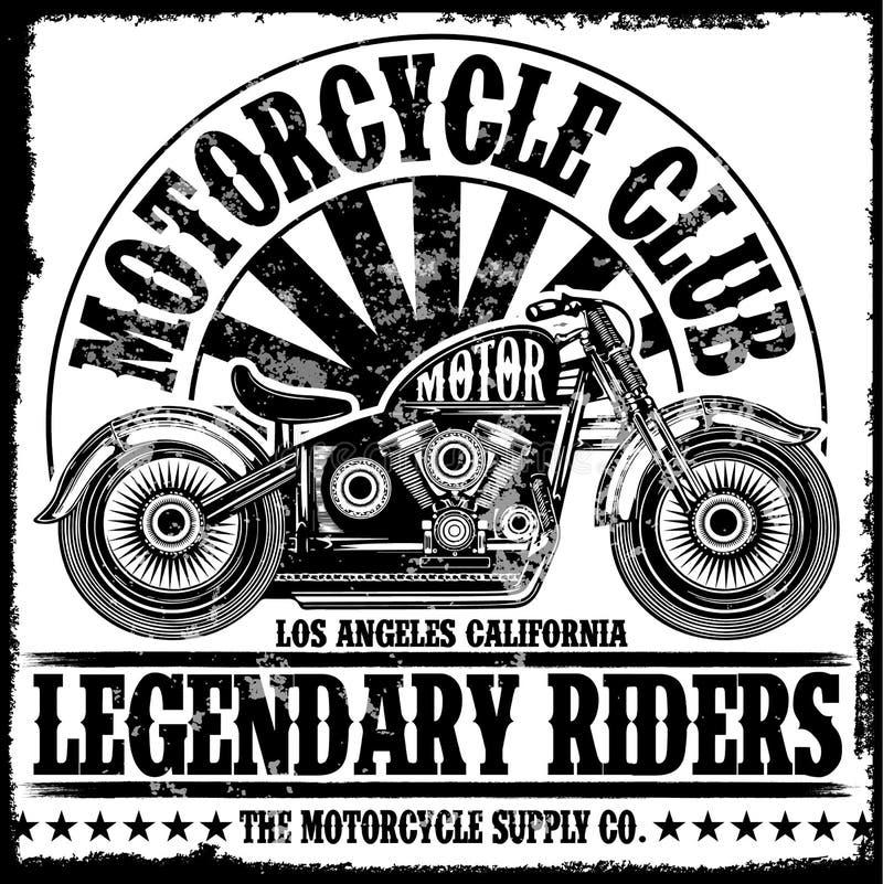 Σχέδιο μπλουζών ετικετών μοτοσικλετών με την απεικόνιση της μπριζόλας συνήθειας απεικόνιση αποθεμάτων