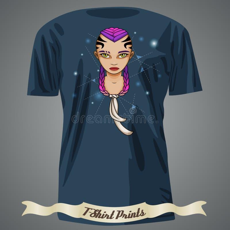 Σχέδιο μπλουζών με την απεικόνιση του κοριτσιού κινούμενων σχεδίων με τη δερματοστιξία επάνω απεικόνιση αποθεμάτων