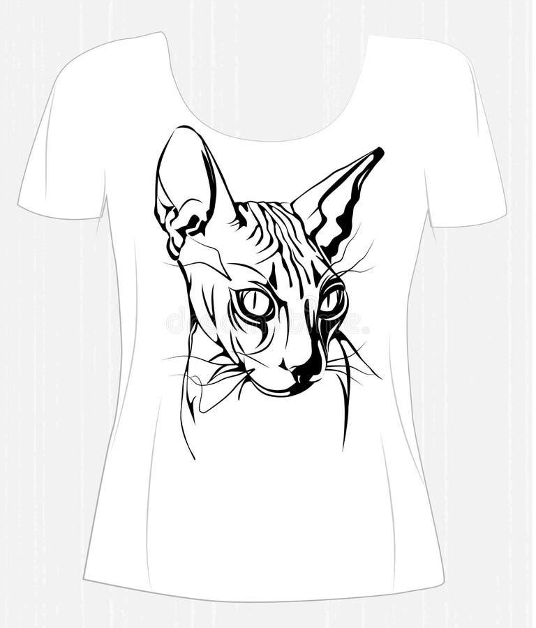 Σχέδιο μπλουζών με την μαύρος-άσπρη καναδική γάτα sphinx απεικόνιση αποθεμάτων