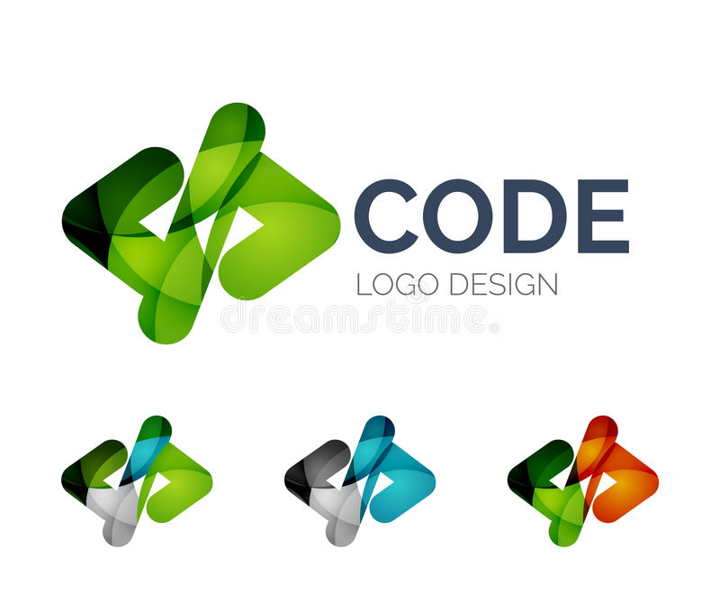 Σχέδιο λογότυπων εικονιδίων κώδικα φιαγμένο από κομμάτια χρώματος διανυσματική απεικόνιση