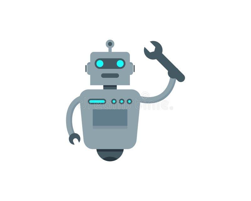 Σχέδιο λογότυπων εικονιδίων ρομπότ επισκευής διανυσματική απεικόνιση