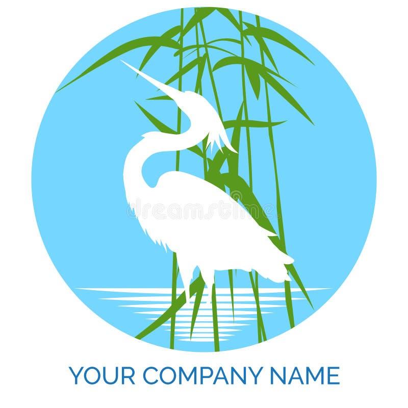 Σχέδιο λογότυπων επιχείρησης συντήρησης με τον ερωδιό διανυσματική απεικόνιση
