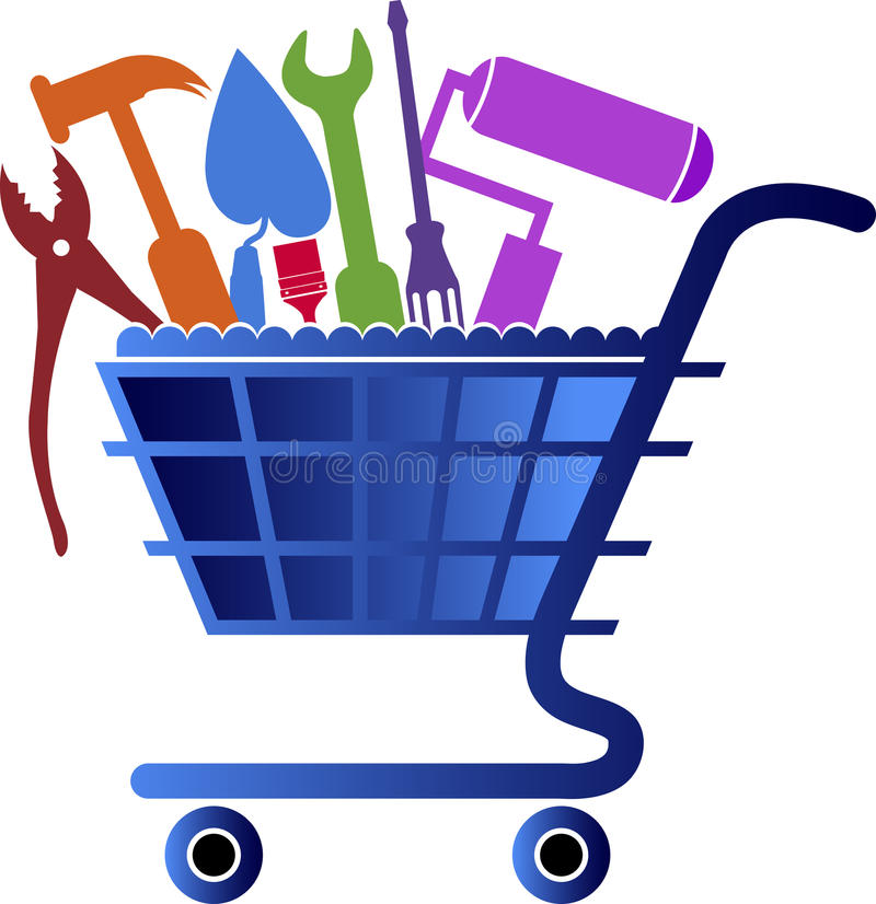 Σχέδιο λογότυπων εργαλείων αγορών διανυσματική απεικόνιση