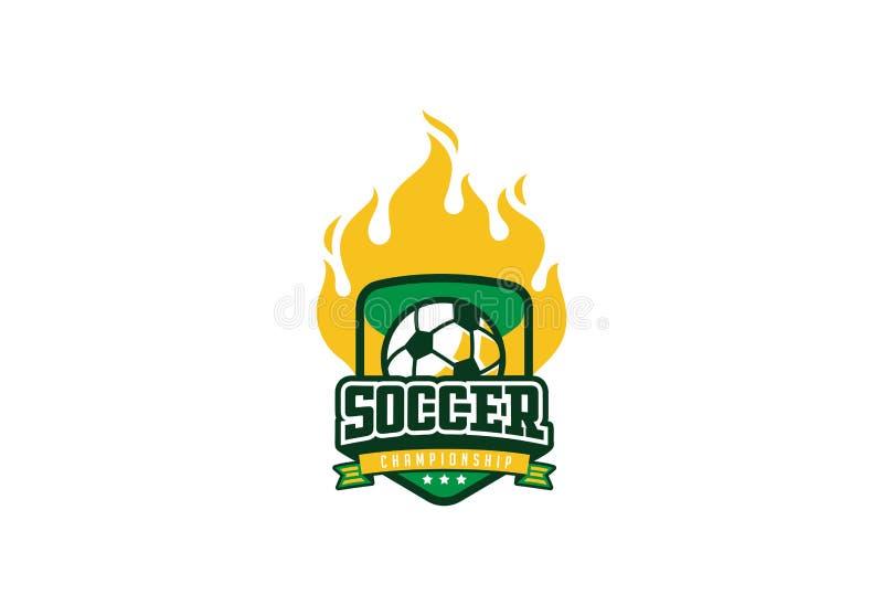 Σχέδιο λογότυπων διακριτικών ποδοσφαίρου Ετικέτα ποδοσφαίρου ταυτότητας αθλητικής ομάδας ελεύθερη απεικόνιση δικαιώματος