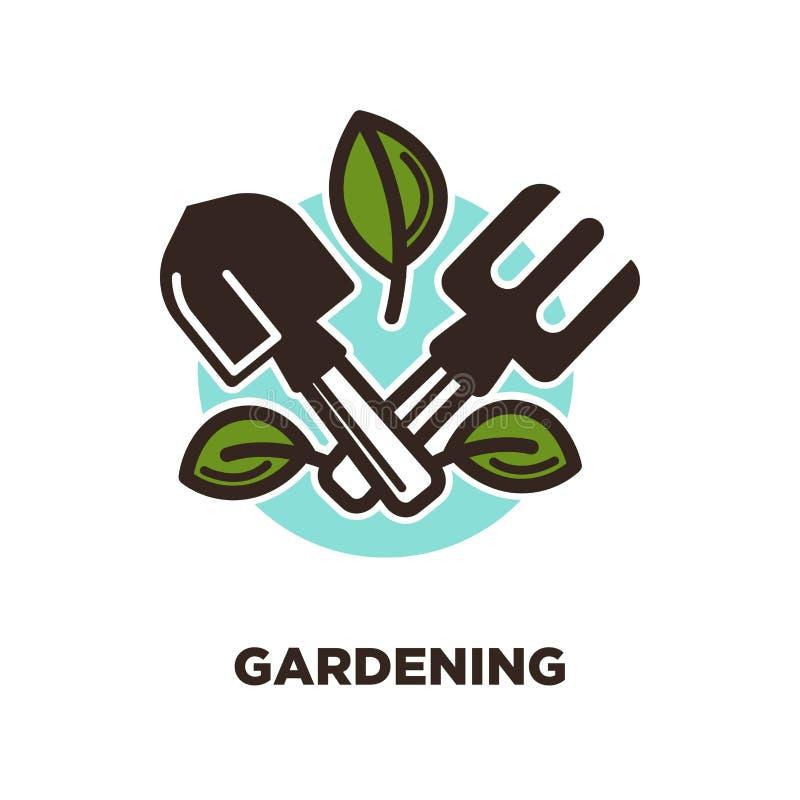 Σχέδιο λογότυπων κηπουρικής με το φτυάρι και την τσουγκράνα με τα πράσινα φύλλα ελεύθερη απεικόνιση δικαιώματος