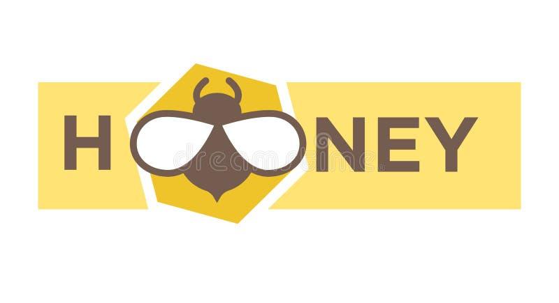 Σχέδιο λογότυπων μελιού στο επίπεδο ύφος με το εικονίδιο μελισσών ελεύθερη απεικόνιση δικαιώματος