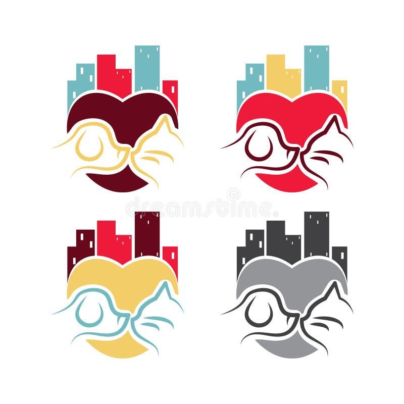 Σχέδιο λογότυπων προτύπων με το σκυλί και τη γάτα στην πόλη για το θέμα κατοικίδιων ζώων διανυσματική απεικόνιση