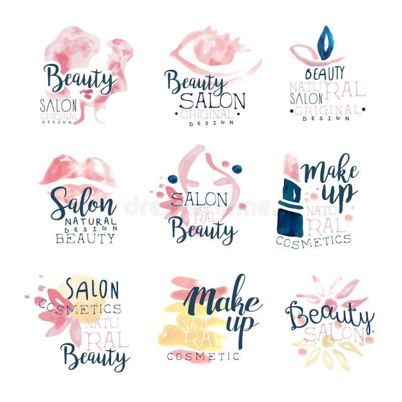 Σχέδιο λογότυπων σαλονιών ομορφιάς, σύνολο ζωηρόχρωμων συρμένων χέρι απεικονίσεων watercolor διανυσματική απεικόνιση