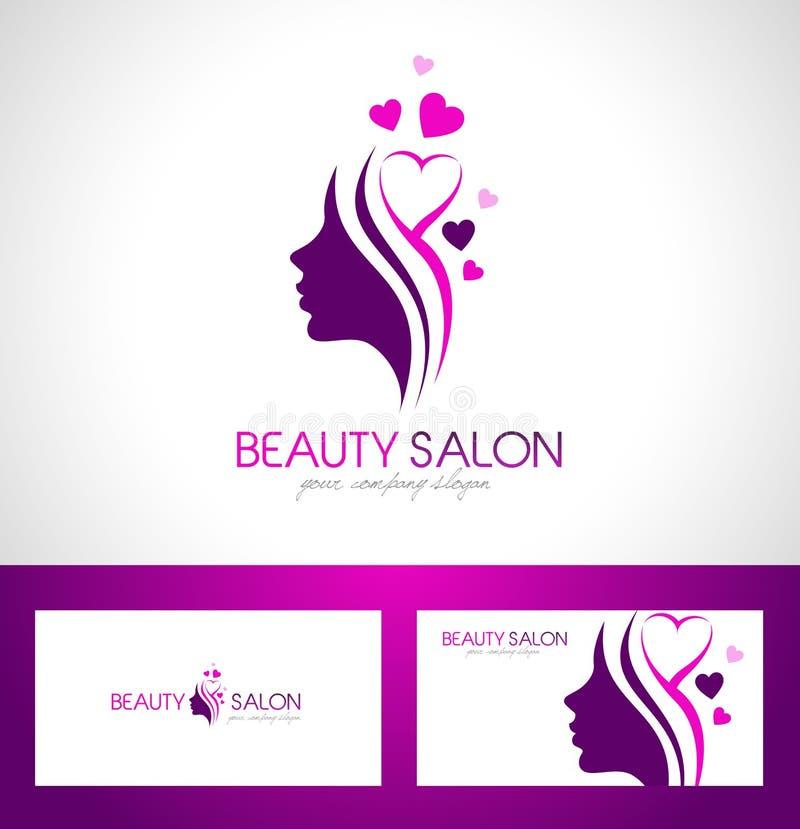 Σχέδιο λογότυπων σαλονιών ομορφιάς απεικόνιση αποθεμάτων