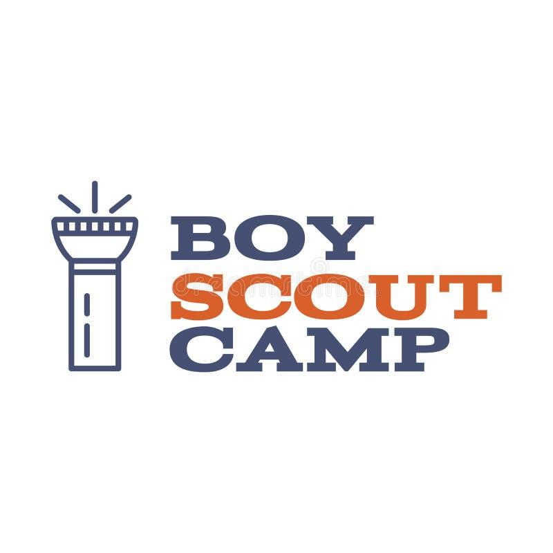 Σχέδιο λογότυπων στρατόπεδων ανιχνεύσεων αγοριών με το στοιχείο τυπογραφίας και ταξιδιού - φακός Διανυσματικό κείμενο Ίχνος πεζοπ απεικόνιση αποθεμάτων