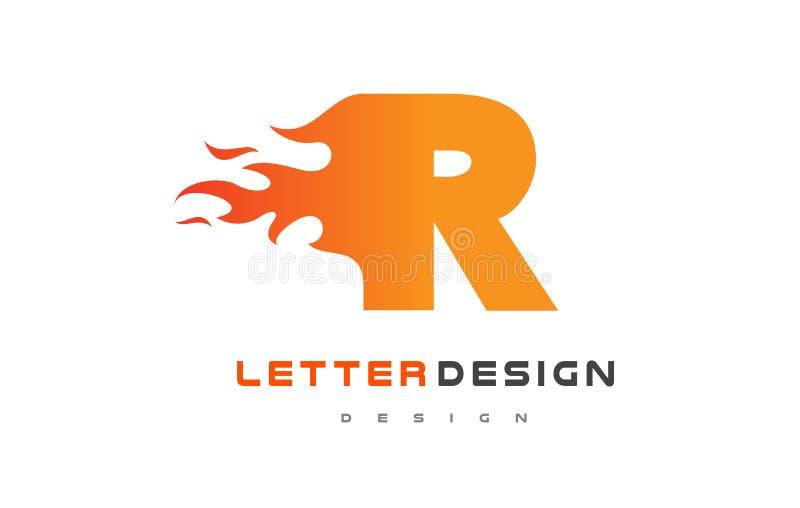 Σχέδιο λογότυπων φλογών επιστολών Ρ Έννοια εγγραφής λογότυπων πυρκαγιάς ελεύθερη απεικόνιση δικαιώματος