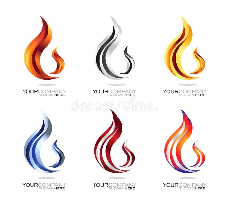 Σχέδιο λογότυπων φλογών διανυσματική απεικόνιση