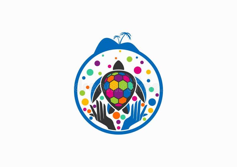 Σχέδιο λογότυπων χελωνών διανυσματική απεικόνιση