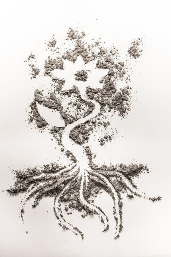 Σχέδιο λουλουδιών που γίνεται στην άμμο, τέφρα, σκόνη, ρύπος απεικόνιση αποθεμάτων
