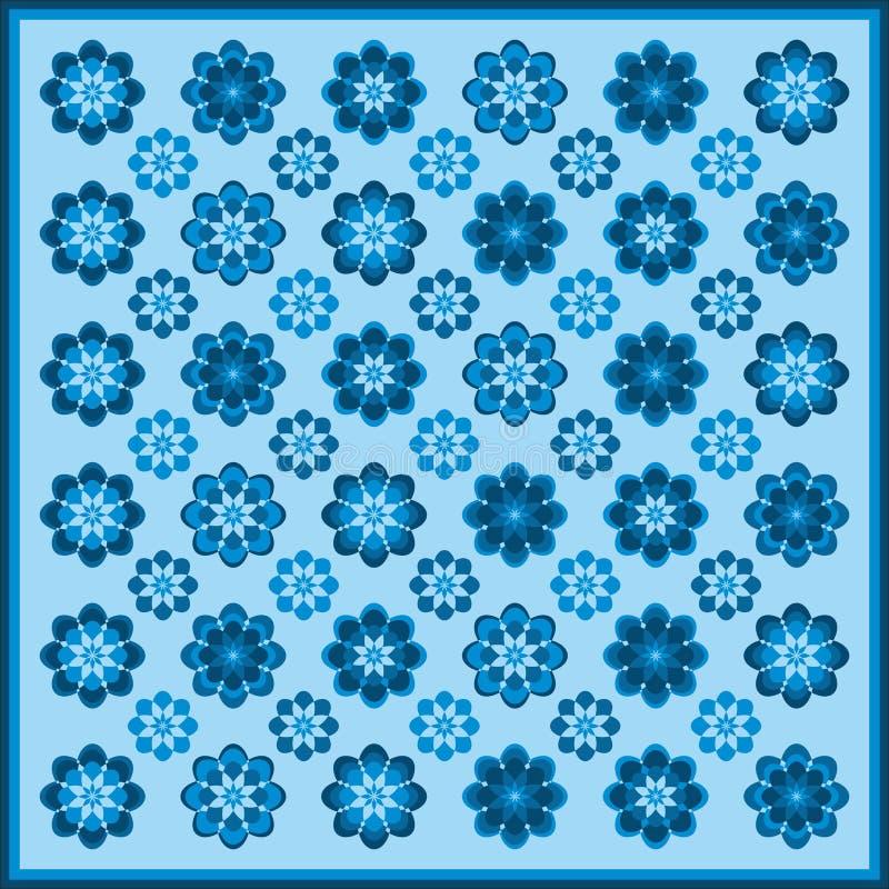 Σχέδιο λουλουδιών στα μπλε χρώματα διανυσματική απεικόνιση