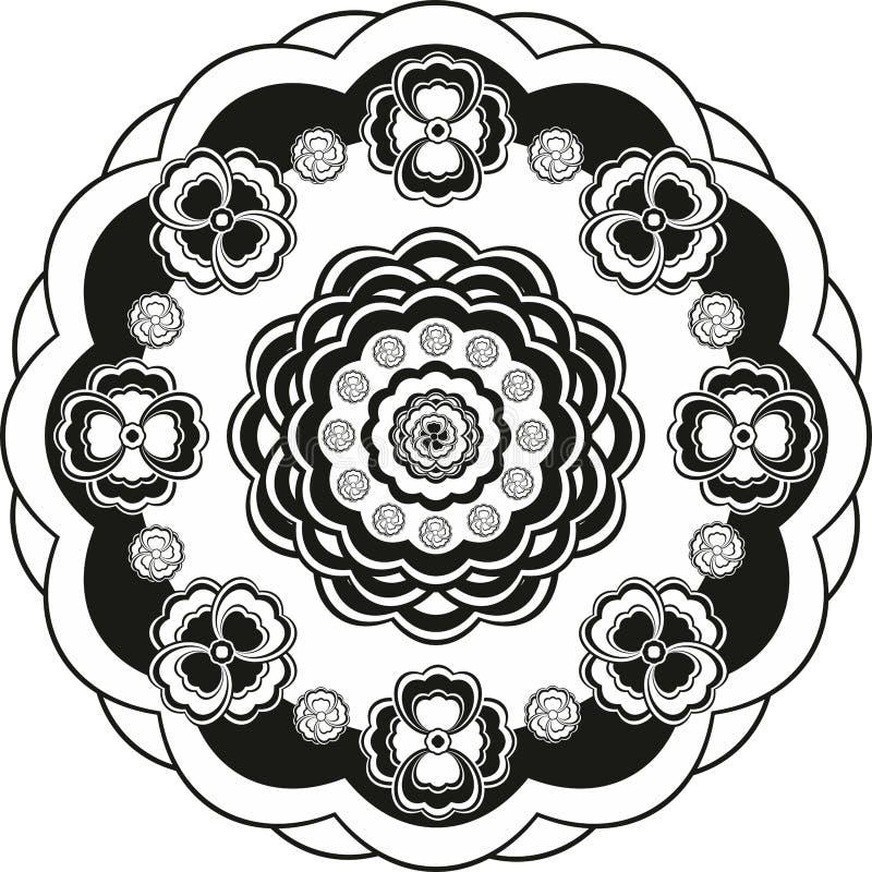 Σχέδιο λουλουδιών στο γραπτό κύκλο απεικόνιση αποθεμάτων