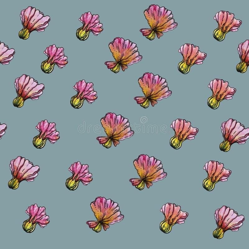 Σχέδιο λουλουδιών Watercolor, μπλε υπόβαθρο στοκ φωτογραφία
