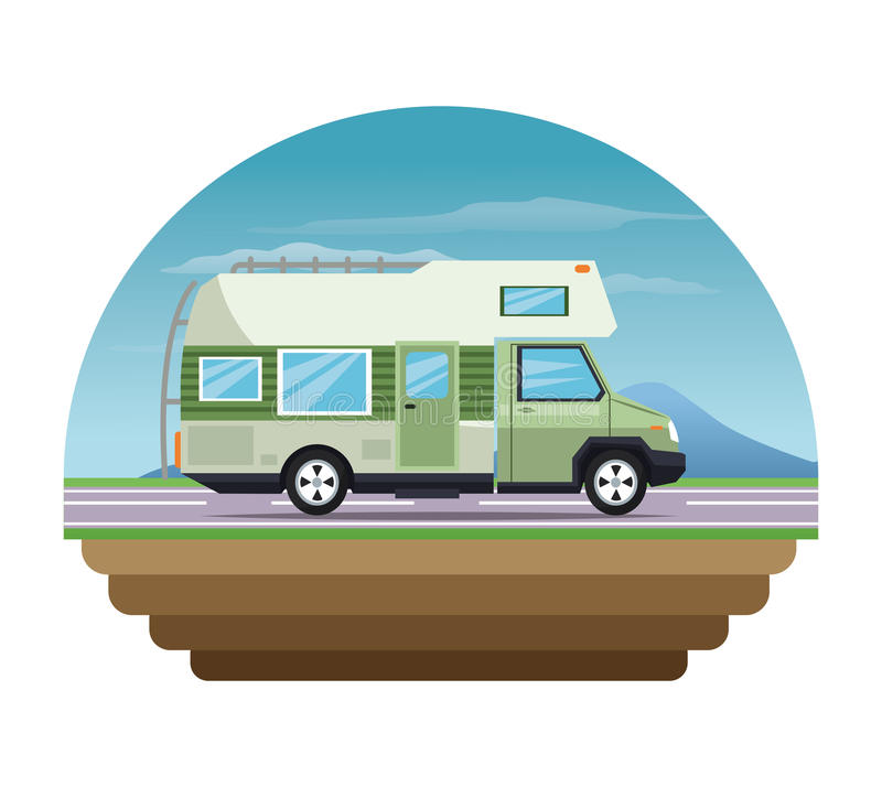 Σχέδιο οχημάτων και μεταφορών Campervan απεικόνιση αποθεμάτων