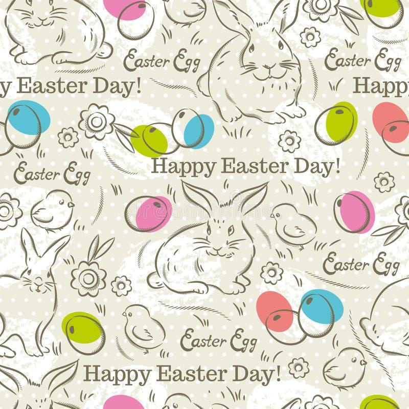 Σχέδιο Πάσχας με τα κουνέλια, τα αυγά Πάσχας, τα λουλούδια και τους νεοσσούς διανυσματική απεικόνιση