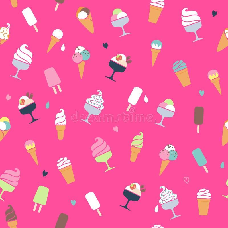 Σχέδιο παγωτού - ρόδινο υπόβαθρο διανυσματική απεικόνιση