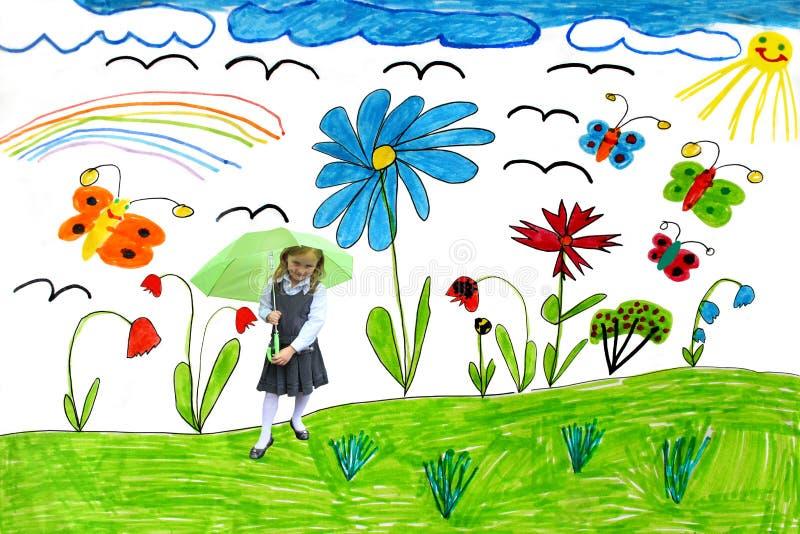 Σχέδιο παιδιών με τις πεταλούδες και το κορίτσι διανυσματική απεικόνιση