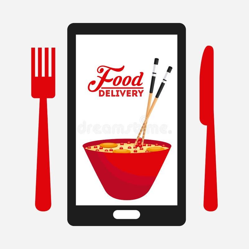 Σχέδιο παράδοσης τροφίμων ελεύθερη απεικόνιση δικαιώματος