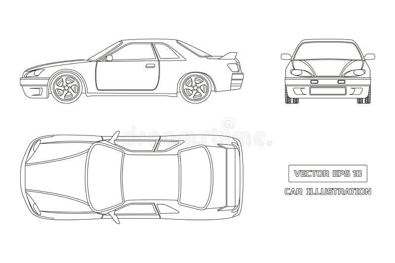 Σχέδιο περιγράμματος του αυτοκινήτου σε ένα άσπρο υπόβαθρο Τοπ, μπροστινή και πλάγια όψη Το όχημα στο ύφος περιλήψεων διανυσματική απεικόνιση