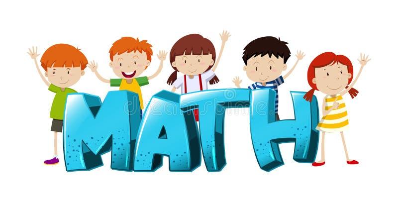 Σχέδιο πηγών για τη λέξη math με τα αγόρια και τα κορίτσια απεικόνιση αποθεμάτων