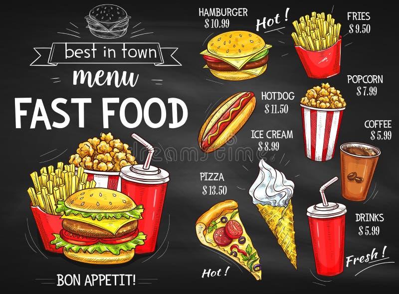 Σχέδιο πινάκων κιμωλίας επιλογών εστιατορίων γρήγορου φαγητού διανυσματική απεικόνιση