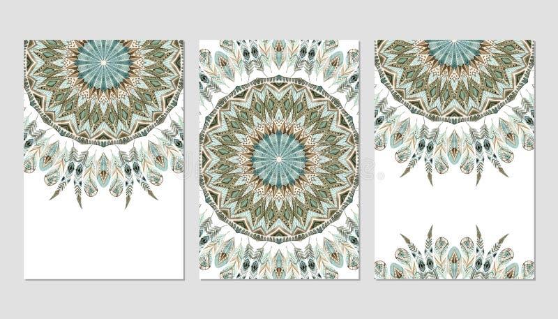 Σχέδιο προτύπων εμβλημάτων με αφηρημένο mandala φτερών watercolor το εθνικό περίκομψο ελεύθερη απεικόνιση δικαιώματος