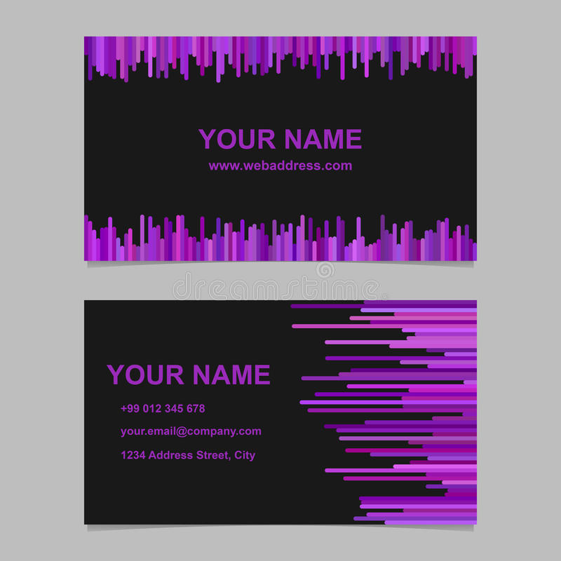Σχέδιο προτύπων επαγγελματικών καρτών χρώματος - διανυσματική εταιρία γραφική με τις κάθετες γραμμές στους πορφυρούς τόνους στο μ ελεύθερη απεικόνιση δικαιώματος
